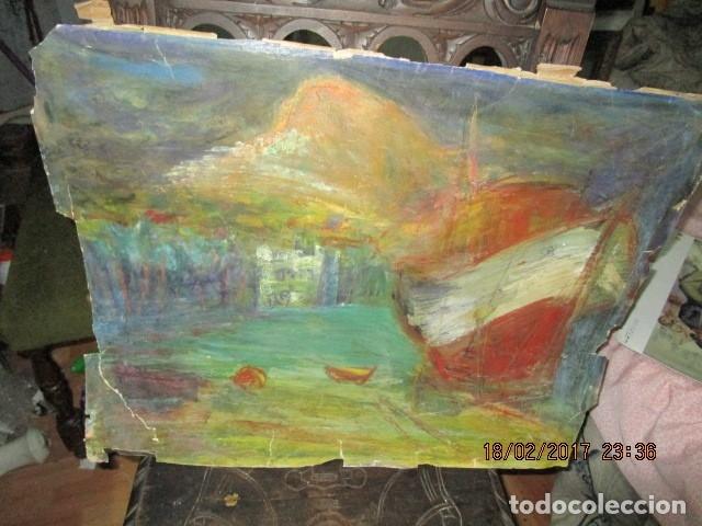 Varios objetos de Arte: ANTIGUA PINTURA IMPRESIONISTA BARCOS EN PUERTO Y CASTILLO ALICANTE - Foto 8 - 179104286