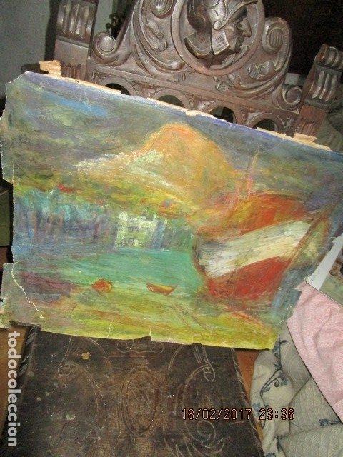 Varios objetos de Arte: ANTIGUA PINTURA IMPRESIONISTA BARCOS EN PUERTO Y CASTILLO ALICANTE - Foto 10 - 179104286