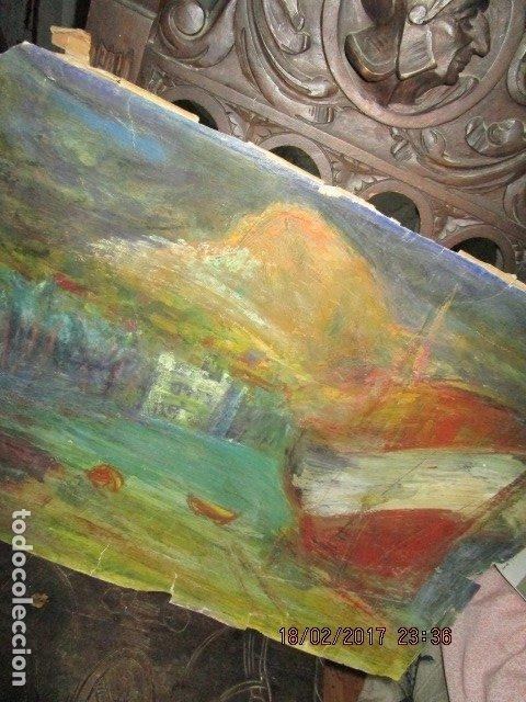 Varios objetos de Arte: ANTIGUA PINTURA IMPRESIONISTA BARCOS EN PUERTO Y CASTILLO ALICANTE - Foto 11 - 179104286