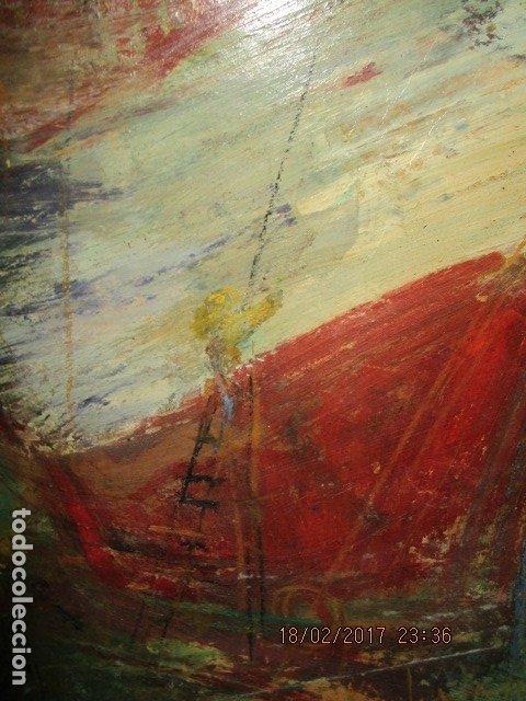 Varios objetos de Arte: ANTIGUA PINTURA IMPRESIONISTA BARCOS EN PUERTO Y CASTILLO ALICANTE - Foto 17 - 179104286