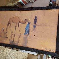 Varios objetos de Arte: LIENZO CON BASTIDO DE MADERA: CAMELLO. FIRMADO POR I. DEL. PIANO (57X107CM). Lote 179220783