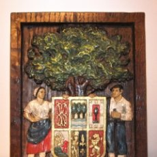 Varios objetos de Arte: CUADRO TALLADO CON SIMBOLOS DE EUSKALERRIA POLICROMADO. Lote 180137577