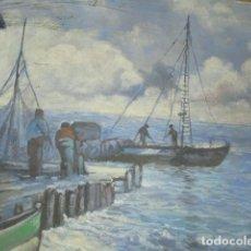 Varios objetos de Arte: ANTIGUA PINTURA IMPRESIONISTA MARINA PUERTO OLEO EN LIENZO. Lote 180215977