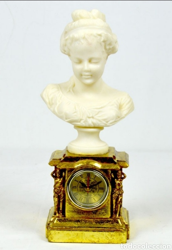 Varios objetos de Arte: Bellísimo Reloj sobremesa con figura de mujer estilo romantico.En en resina.36X15.Función pila 1,5 V - Foto 6 - 180276520