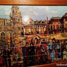 Varios objetos de Arte: PLAZA DE LOS APÓSTOLES DE MURCIA POR MUÑOZ BARBERÁN. PINTURA EN AZULEJOS. BANDEJA O CUADRO 39 EUROS. Lote 180293182