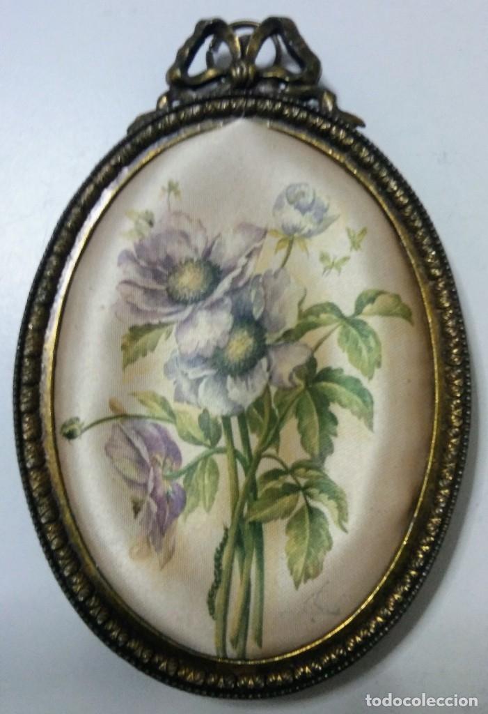 Varios objetos de Arte: LOTE 4 MARCOS BRONCE MADE IN ITALY DIBUJO EN SEDA - Foto 9 - 180331822