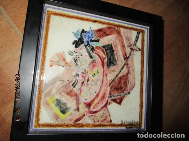 PINTURA ANTIGUA EN AZULEJO FIRMADA (Arte - Varios Objetos de Arte)