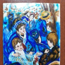 Varios objetos de Arte: ANTIGUA CHAPA ESMALTADA PINTADO A MANO ESCENA FIESTA MUJERES HOMBRES DE EPOCA. Lote 181508635