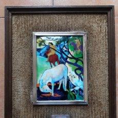 Varios objetos de Arte: CUADRO PAUL GAUGUIN EL CABALLO BLANCO- DIBUJO SOBRE CHAPA ESMALTADA- MARCO PLATA DE LEY. Lote 181593222