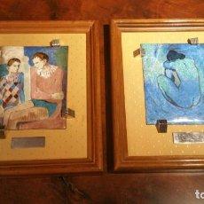 Varios objetos de Arte: DOS PLACAS ESMALTADAS DE PICASSO CON ENGARZADO DE PLATA PUNZONADA. Lote 181786857