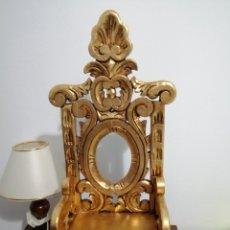 Varios objetos de Arte: TRONO EN MADERA Y PAN DE ORO PARA NIÑO JESUS. Lote 181938476
