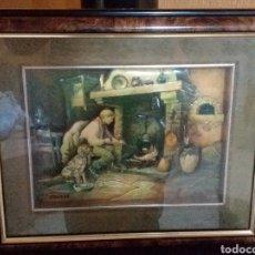 Varios objetos de Arte: CUADRO 3D HOMBRE CON UN PERRO CON UN FUEGO A TIERRA SELLO DETRÁS VENDRELL. Lote 182066293