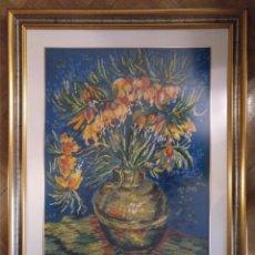 Varios objetos de Arte: CUADRO ENMARCADO CON CRISTAL JARRON CON FLORES REALIZADO EN PUNTO DE CRUZ. 85 X 70 CM (APROX). Lote 182263452