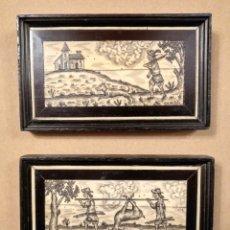 Varios objetos de Arte: PAREJA DE CUADROS INCRUSTACION SOBRE MADERA HECHOS MANO ESCENAS DE CAZA 14 X 9 CM (APROX). Lote 182264452