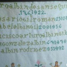Varios objetos de Arte: ARBOL GENEALÓGICO PUNTO Y CRUZ.. Lote 182629358