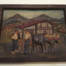 Varios objetos de Arte: ANTIGUO CUADRO TABLA EN RELIEVE TALLADA Y POLICROMADA ESCENA TIPOLOGÍA VASCA PAIS VASCO BASQUE. Lote 182728468