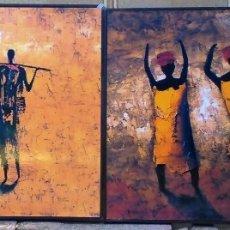 Varios objetos de Arte: CUADROS CON MOTIVOS AFRICANOS. Lote 182897181