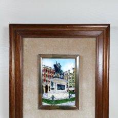 Varios objetos de Arte: ESMALTE A FUEGO SOBRE COBRE REPRESENTACION DE LA PLAZA PRIM -REUS--ESMALTES NICOLAU S.A-AÑOS 60. Lote 183016850