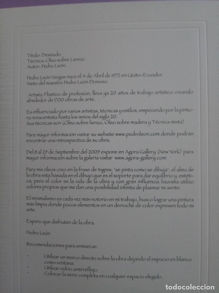 Varios objetos de Arte: PEDRO LEÓN - 4 REPRODUCCIONES ÓLEO SOBRE LIENZO - TORO BRAVO - DESNUDO - NARANJAS - MISTERIO - Foto 13 - 222216883