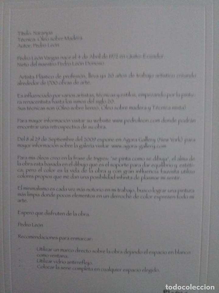 Varios objetos de Arte: PEDRO LEÓN - 4 REPRODUCCIONES ÓLEO SOBRE LIENZO - TORO BRAVO - DESNUDO - NARANJAS - MISTERIO - Foto 14 - 222216883