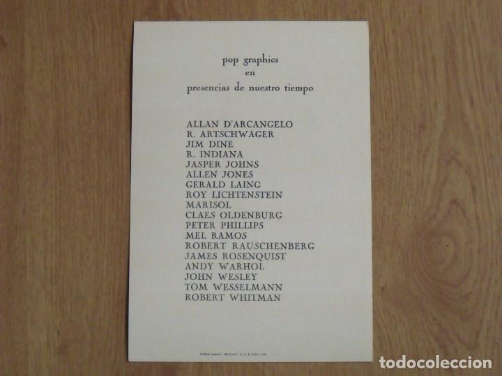 Varios objetos de Arte: Pop Art Graphics. Folleto Galería René Metras. 1976. Warhol, Rauschenberg, Dine, Indiana, Johns. - Foto 2 - 183570792