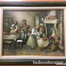Varios objetos de Arte: CUADRO TRIDIMENSIONAL EN RELIEVE 3D ESMALTADO CON CAPAS SOBREPUESTAS. ESCENA CASERA. Lote 183785947
