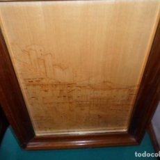 Varios objetos de Arte: CUADRO - PUEBLO ALBARRACIN - CASAS, CASTILLO - PIROGRABADO TABLEX FIRMADO ESTRADA 88 ENMARCADO . Lote 183928063