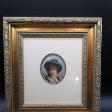 Varios objetos de Arte: MINIATURA DE ESMALTE. RETRATO DE ELEGANTE MUJER. Lote 184505848