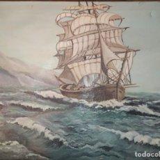 Varios objetos de Arte: ÓLEO SOBRE LIENZO BARCO GALEÓN FIRMADO ISABEL. Lote 185936778