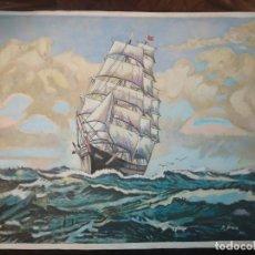 Varios objetos de Arte: DIBUJO SOBRE PAPEL BARCO GALEÓN PRECIOSO R BRAU 1975 . Lote 185937256