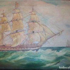 Varios objetos de Arte: ANTIGUO OLEO SOBRE LIENZO FIRMADO M MOSCARDO GALEÓN BARCO PRECIOSO . Lote 185977058