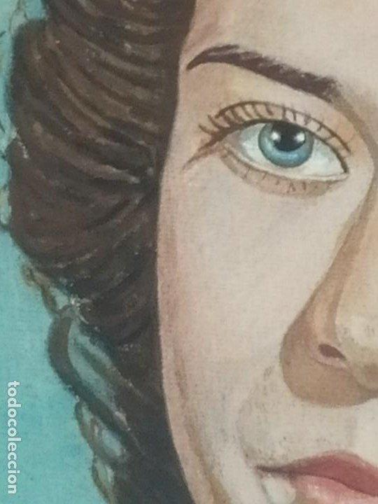 Varios objetos de Arte: PRECIOSO RETRATO DIBUJO CHICA JOVEN GUAPA ANTIGUO FIRMADO R BRAU 1950 - Foto 2 - 185977292