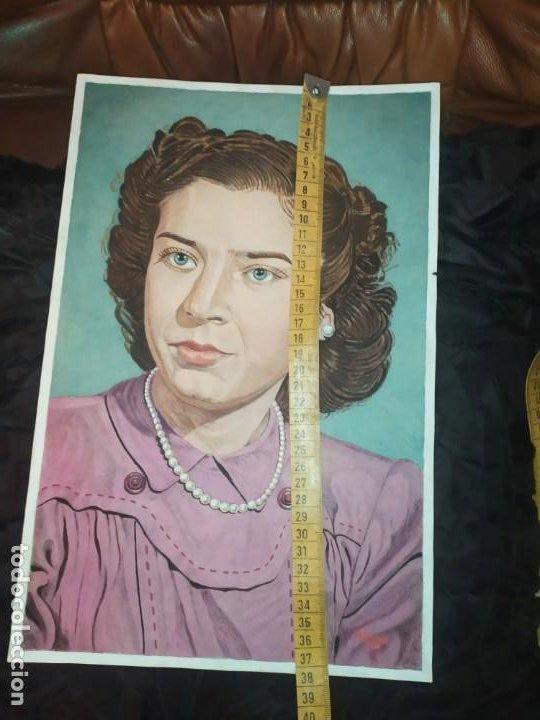 Varios objetos de Arte: PRECIOSO RETRATO DIBUJO CHICA JOVEN GUAPA ANTIGUO FIRMADO R BRAU 1950 - Foto 8 - 185977292
