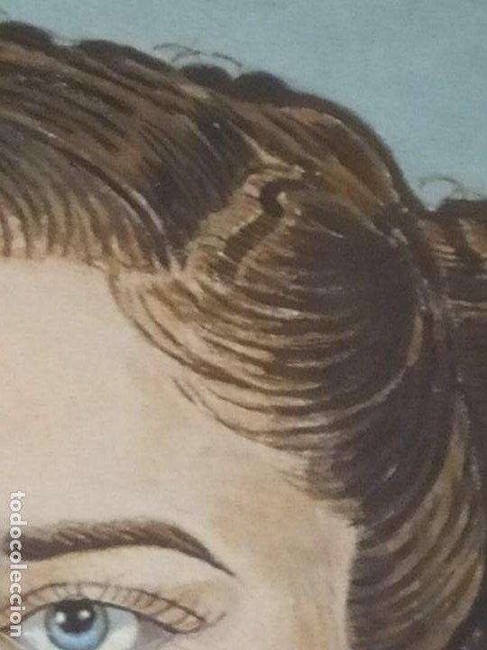Varios objetos de Arte: PRECIOSO RETRATO DIBUJO CHICA JOVEN GUAPA ANTIGUO FIRMADO R BRAU 1950 - Foto 9 - 185977292