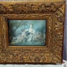 Varios objetos de Arte: ANTIGUO (CUADRO REALIZADO EN TELA, ENMARCADO MADERA TALLADA ÉPOCA ). MÁS CUADROS ANTIGUOS MI PERFIL.. Lote 187401388