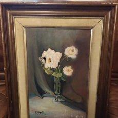 Varios objetos de Arte: OLEO SOBRE LIENZO ANTIGUO CREO FIRMADO P. GOIG FLORES JARRÓN RESTAURAR. Lote 187597468