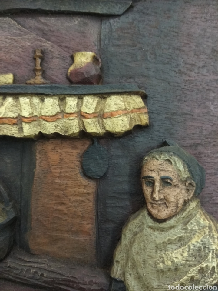 Varios objetos de Arte: ANTIGUO CUADRO TABLA RELIEVE TALLADA POLICROMADA ESCENA TIPOLOGÍA VASCA SUKALDEAN PAIS VASCO BASQUE - Foto 3 - 188740941