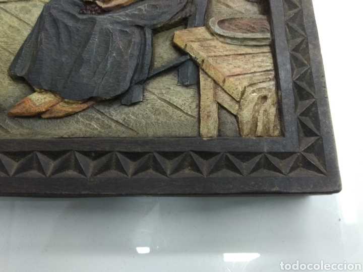 Varios objetos de Arte: ANTIGUO CUADRO TABLA RELIEVE TALLADA POLICROMADA ESCENA TIPOLOGÍA VASCA SUKALDEAN PAIS VASCO BASQUE - Foto 4 - 188740941