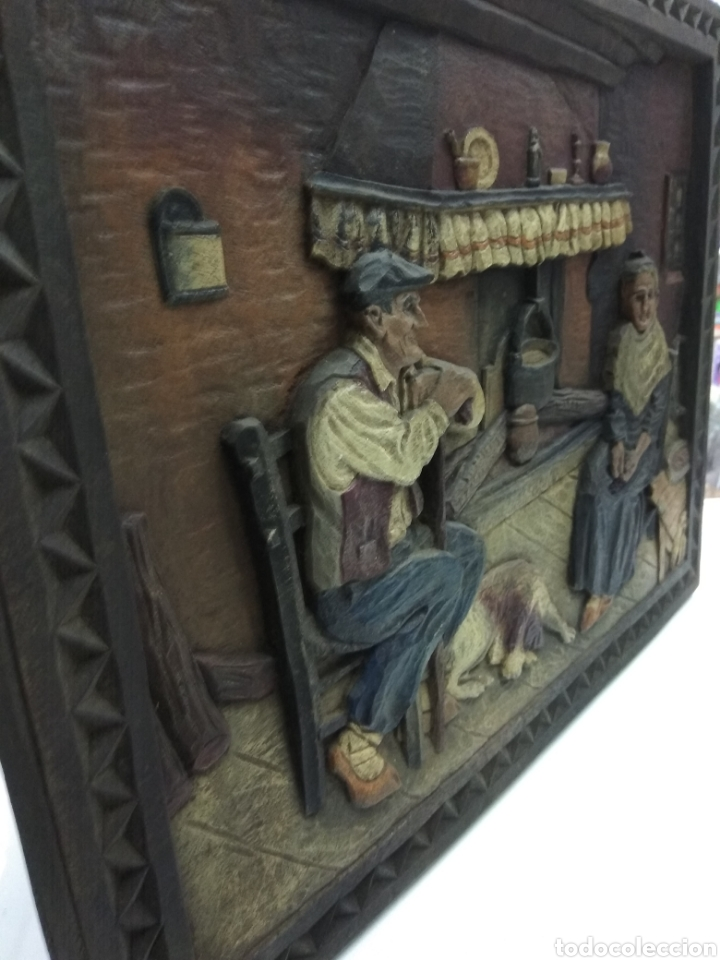 Varios objetos de Arte: ANTIGUO CUADRO TABLA RELIEVE TALLADA POLICROMADA ESCENA TIPOLOGÍA VASCA SUKALDEAN PAIS VASCO BASQUE - Foto 5 - 188740941