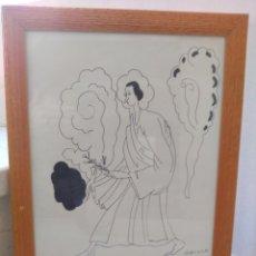 Varios objetos de Arte: ANTIGUO DIBUJO AUTENTICO DEL PRESTIGIOSO OPISSO (RICARD OPISSO I SALA) DISCIPULO DE GAUDÍ. Lote 189555030