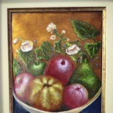 Varios objetos de Arte: FRUTAS Y FLORES 38*44 - ORO DE LEY LIQUIDO - ESMALTE AL FUEGO - SOR PAULA MARTIN . Lote 189899718