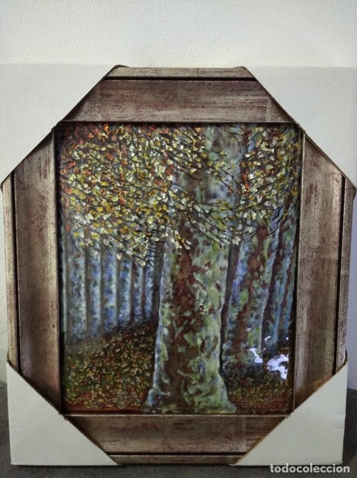 ARBOL OTOÑAL 31*35 - ORO DE LEY LIQUIDO - ESMALTE AL FUEGO - SOR PAULA MARTIN (Arte - Varios Objetos de Arte)