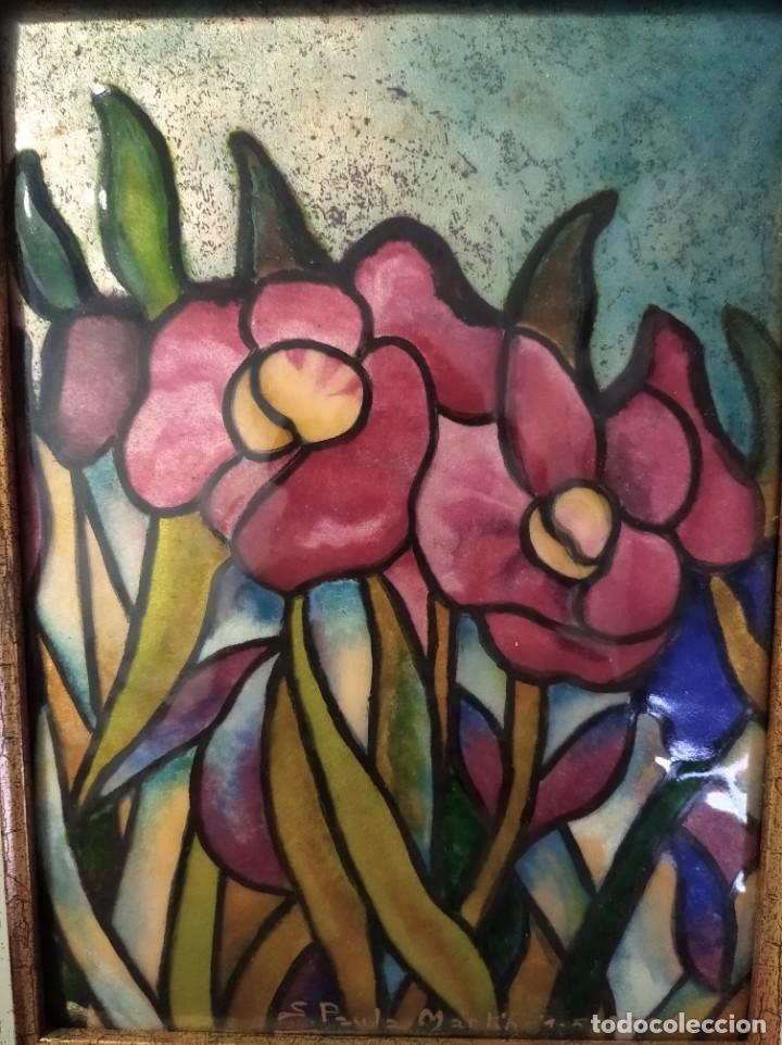 FLORES 32*38 - ORO DE LEY LIQUIDO - ESMALTE AL FUEGO - SOR PAULA MARTIN (Arte - Varios Objetos de Arte)