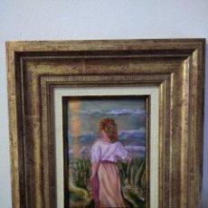 Varios objetos de Arte: MUJER DE ESPALDAS 31*35 - ORO DE LEY LIQUIDO - ESMALTE AL FUEGO - SOR PAULA MARTIN . Lote 189902148