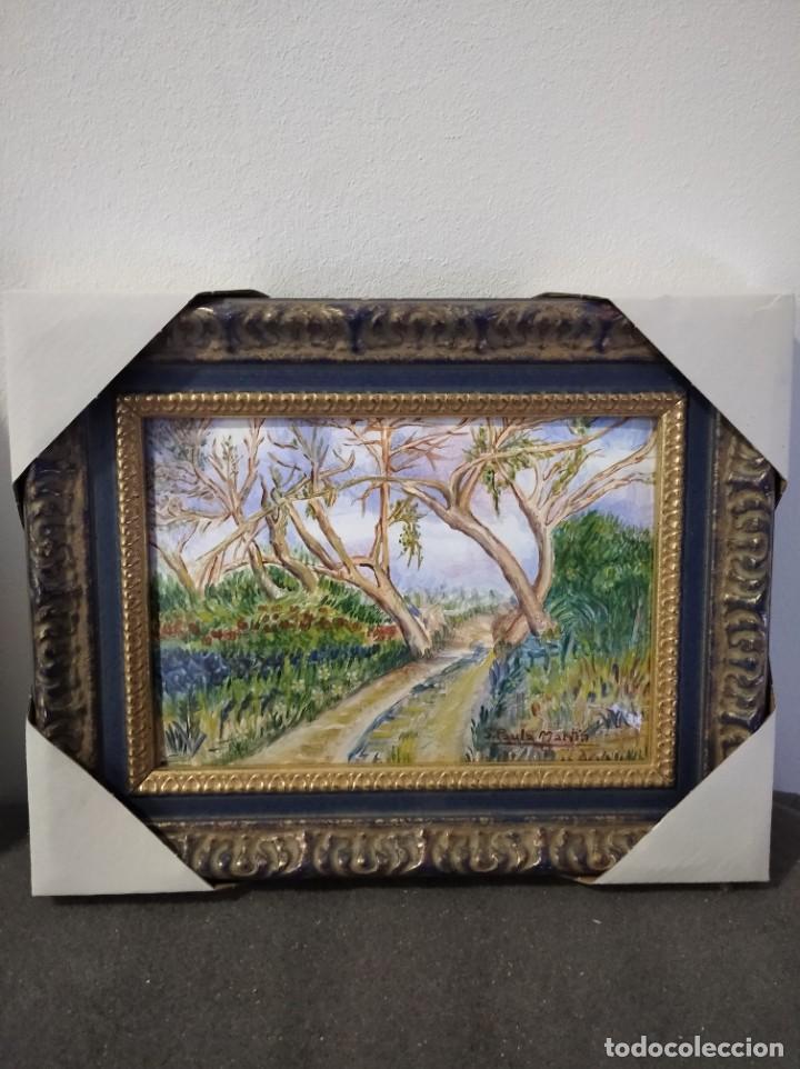 PAISAJE 29*22 - ORO DE LEY LIQUIDO - ESMALTE AL FUEGO - SOR PAULA MARTIN (Arte - Varios Objetos de Arte)