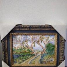 Varios objetos de Arte: PAISAJE 29*22 - ORO DE LEY LIQUIDO - ESMALTE AL FUEGO - SOR PAULA MARTIN . Lote 189902288