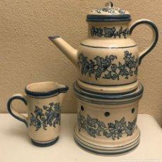 Varios objetos de Arte: TETERA CON STAND Y JARRÓN LECHE VALENCIANA . Lote 190228350