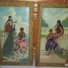 Arte: DOS LITOGRAFÍAS ENMARCADAS PINTURA ROMÁNTICA. FIRMADO LACROIX GENEVE MEDIDAS 68 X 38 CM.. Lote 190281142