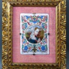 Varios objetos de Arte: PLACA ESMALTE RETRATO DE JOVEN CON MARCO EN MADERA TALLADA Y DORADA SIGLO XIX. Lote 190831090