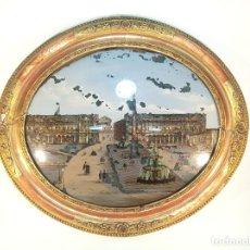 Varios objetos de Arte: EXTRAORDINARIA OBRA DE ARTE REALIZADA SOBRE CRISTAL OVALADO,PLAZA DE LA CONCORDIA DE PARÍS.SIGLO XIX. Lote 190854935